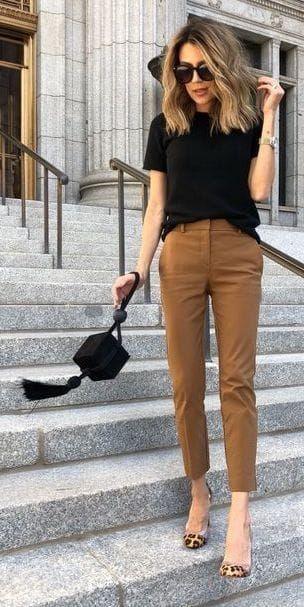 brązowe spodnie cygaretki