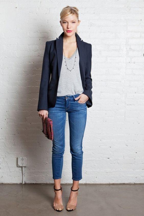 strój do pracy - jeansy i marynarka