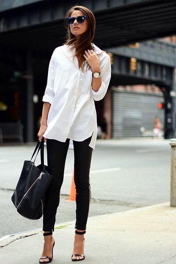 spodnie z lampasami i biała koszula