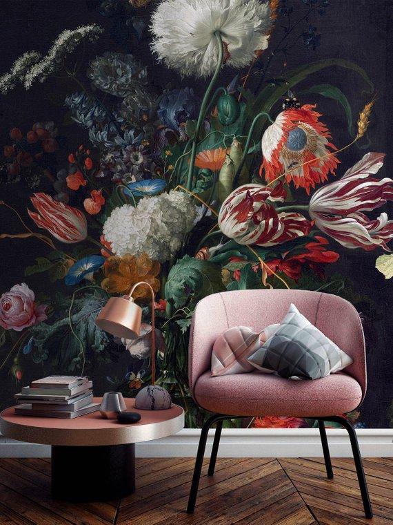 tapeta vintage w kwiaty
