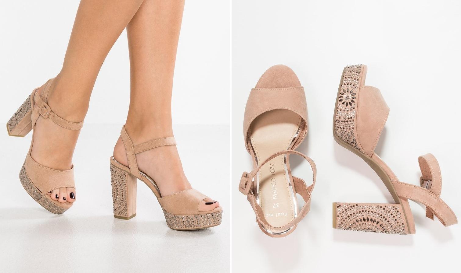 beżowe sandały na obcasie stylizacje
